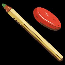 Ilustração escolar a lápis de borracha
