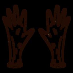 Guantes de seguridad dibujados a mano