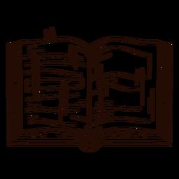School book open hand drawn