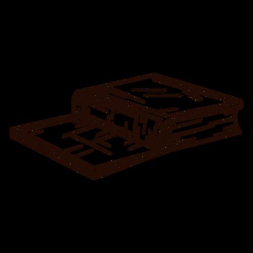 Libro escolar boca abajo dibujado a mano