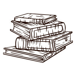 School books pile hand drawn