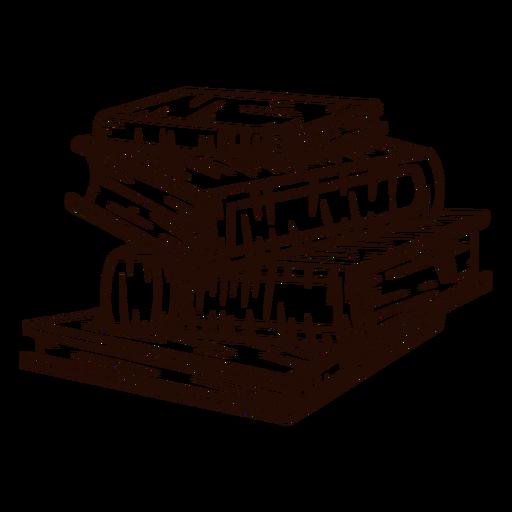 Pilha de livros escolares desenhada à mão