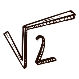 Square root of 2 hand drawn