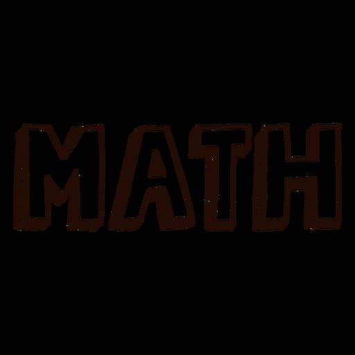 Subject math lettering