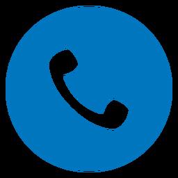 Icono azul del auricular del teléfono