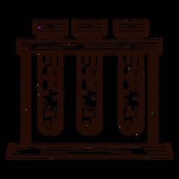 Bastidor de tubos de ensayo dibujado a mano
