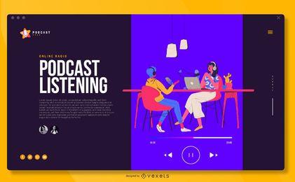 Ilustración de podcast Diseño de portada de pantalla completa