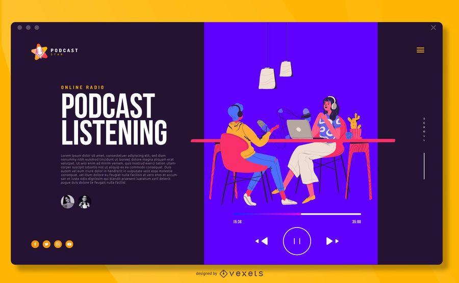 Podcast Illustration Fullscreen Cover Design