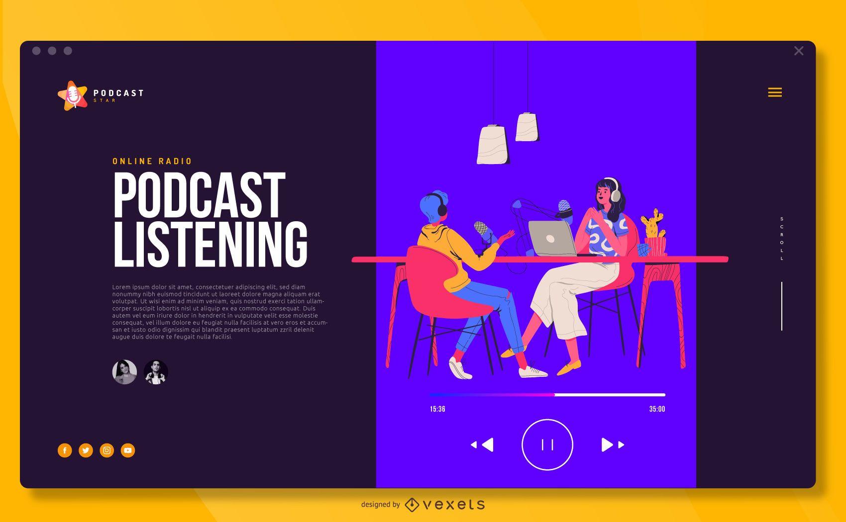 Ilustración de podcast Diseño de portada a pantalla completa