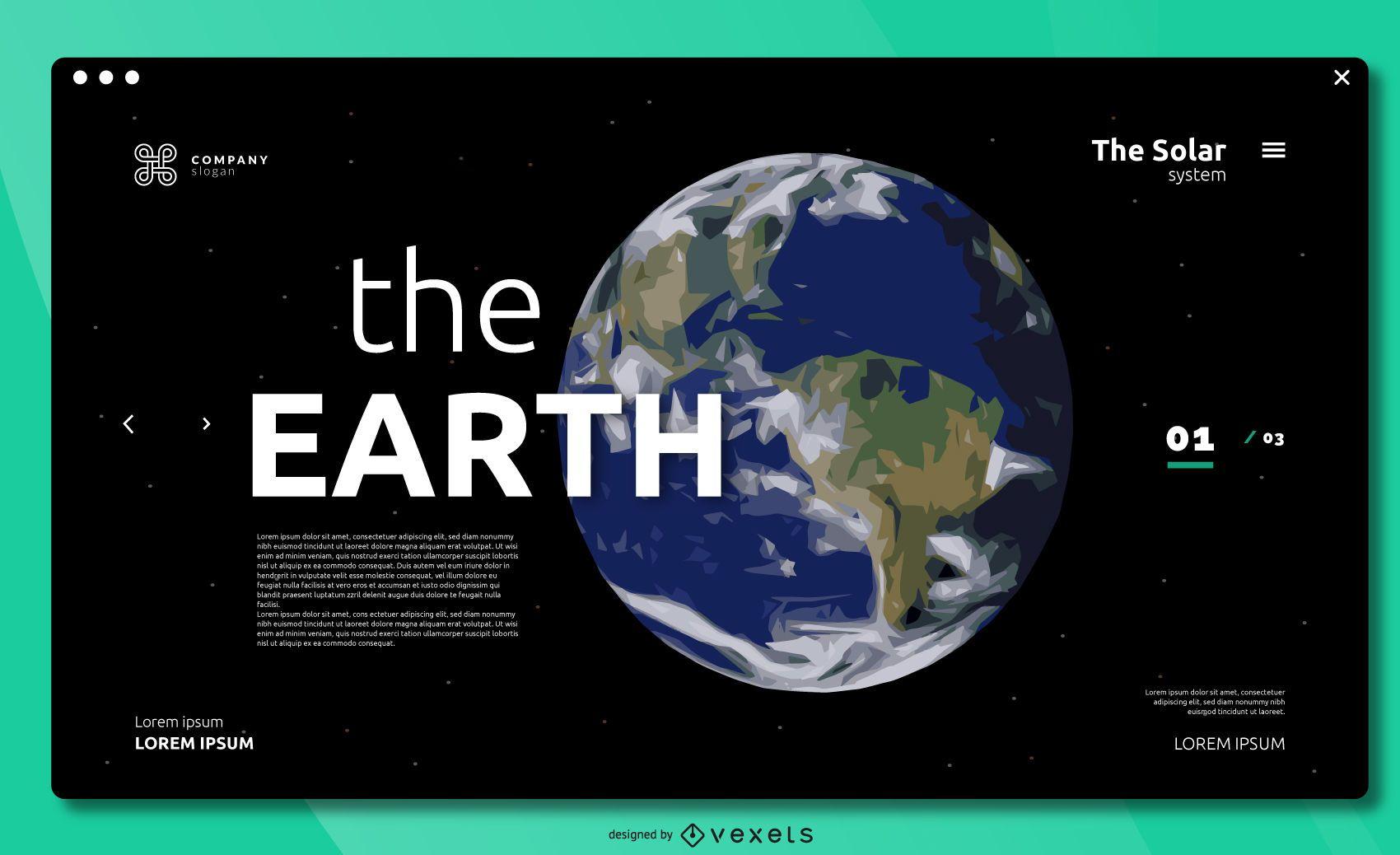 Diseño de portada de pantalla completa de The Earth