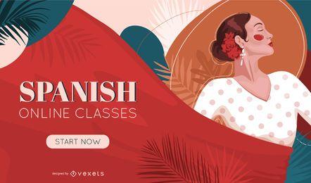 Diseño de portada de lecciones de español online
