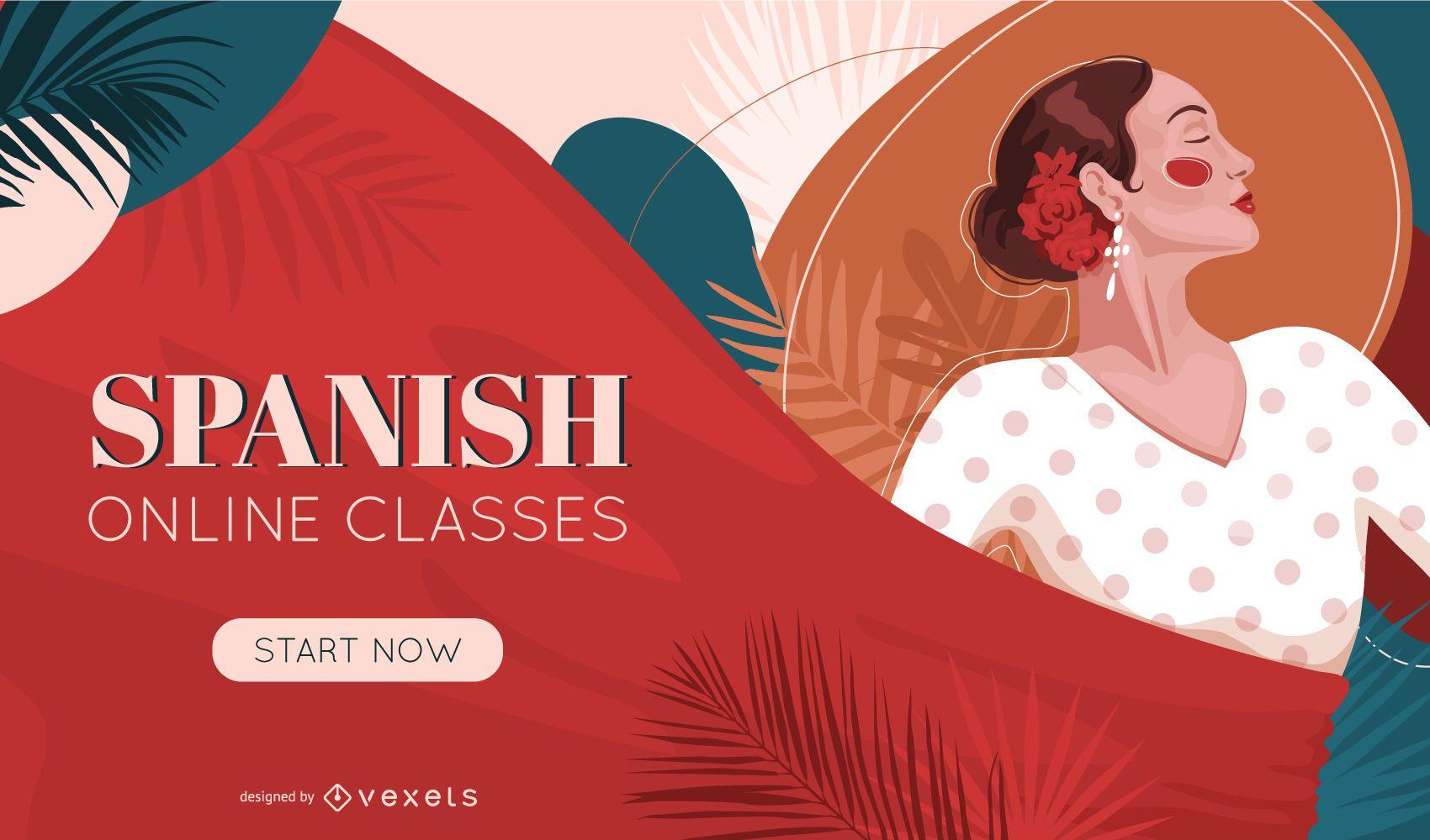 Design da capa das aulas online de espanhol