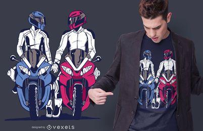 Diseño de camiseta de pareja de motos