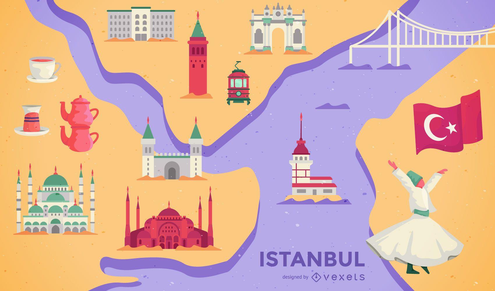 diseño de ilustración de mapa de estambul