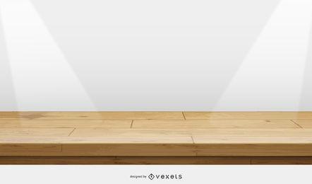 ilustração de palco de madeira
