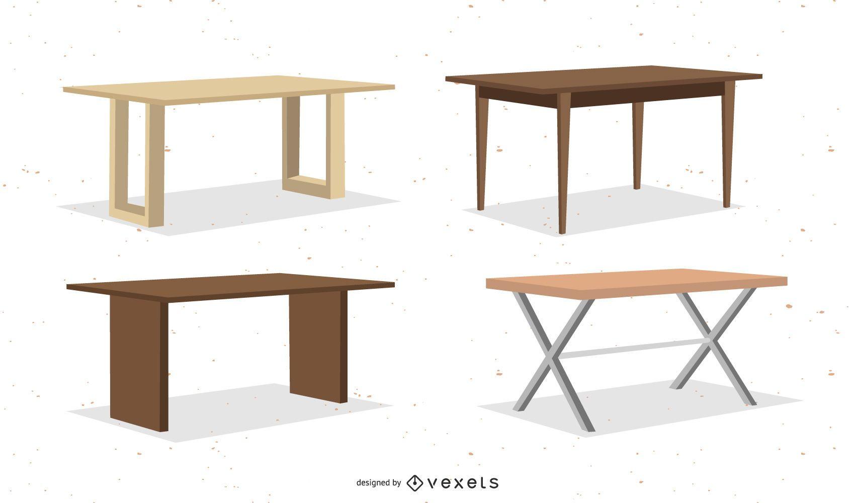 Rectangular table collection set