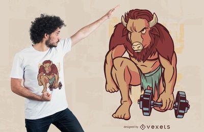 Diseño de camiseta de búfalo de gimnasio.