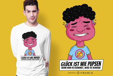 Projeto alemão do t-shirt das citações da vida engraçada