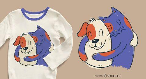 Diseño de camiseta abrazando gato y perro