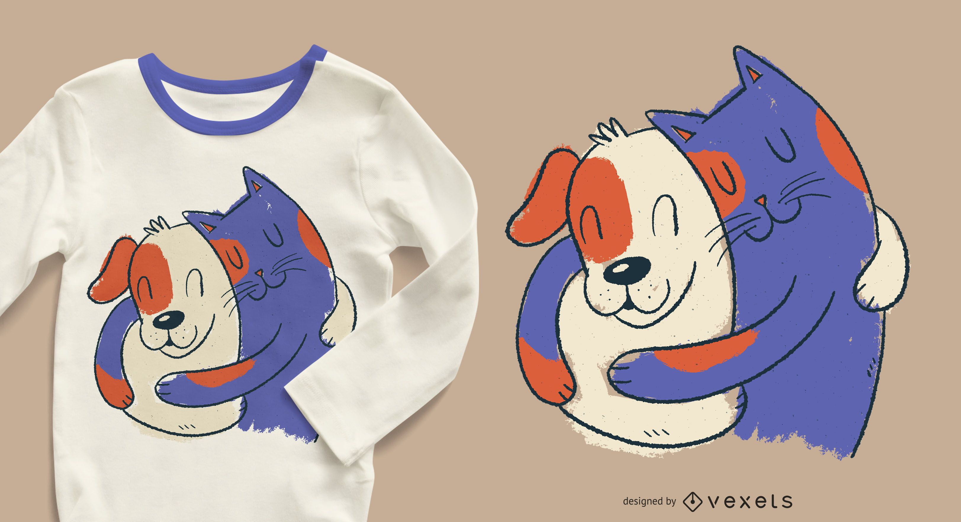 Cat and dog hugging t-shirt design