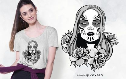 Catrina Woman Illustration T-shirt Design