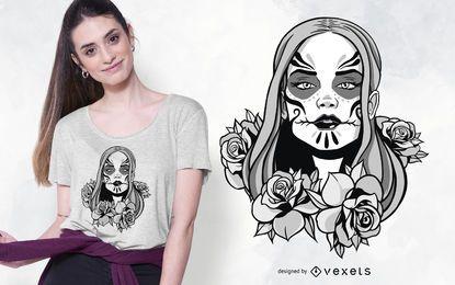 Design de camiseta com ilustração de mulher Catrina