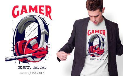 Design de t-shirt com fone de ouvido para jogador