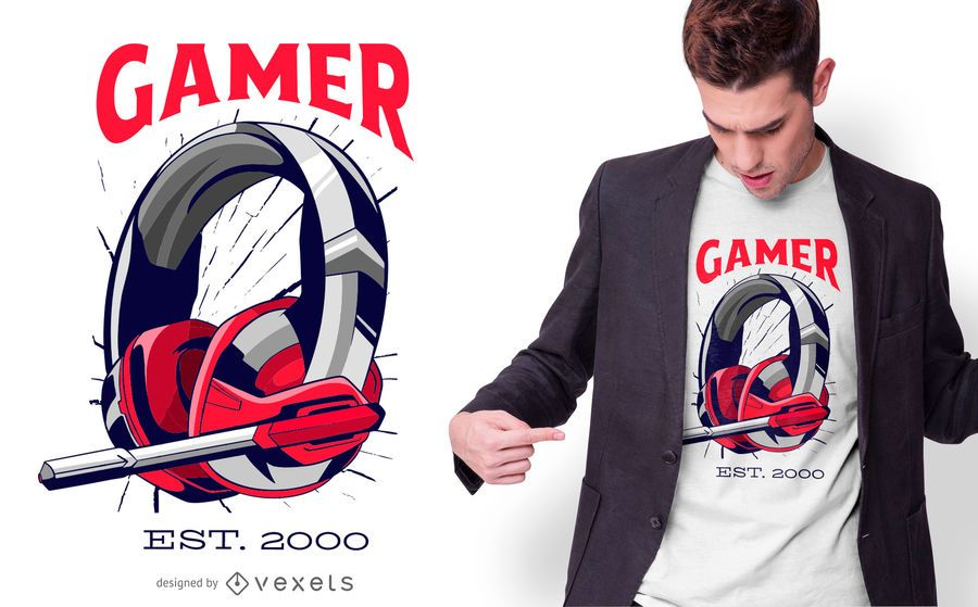 Gamer Headset T-shirt Design