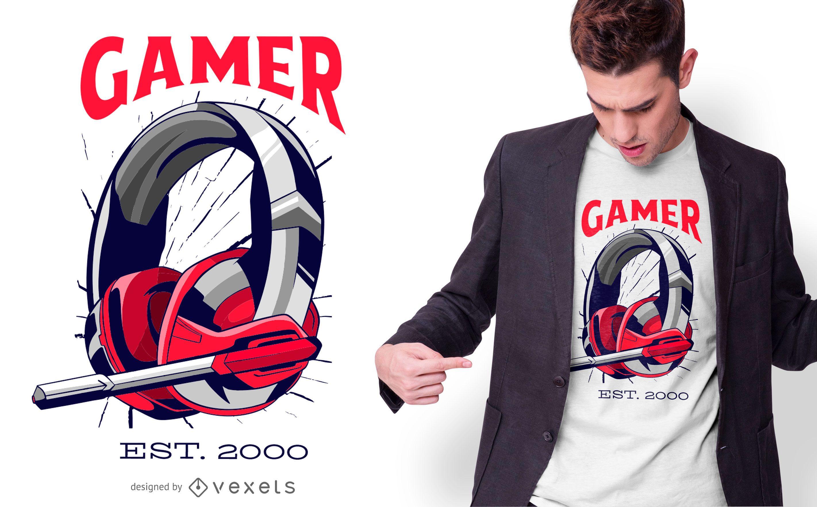 Gamer Headset T-shirt Design