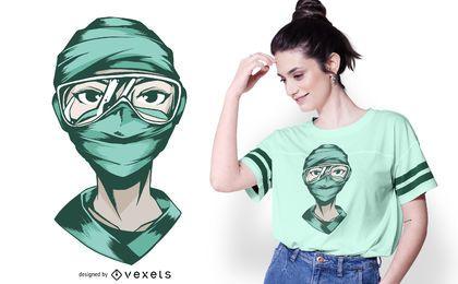 Design de t-shirt de máscara facial de enfermeira