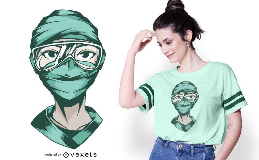 Diseño de camiseta de máscara de enfermera