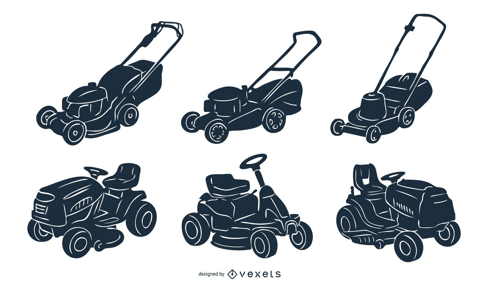 Mowing Machine Silhouette Pack