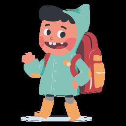 Personagem de saudação de menino mochila