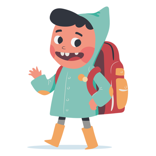 Backpack boy greeting character