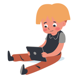 Blonde kid tablet character