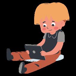 Personaje de tableta de niño rubio