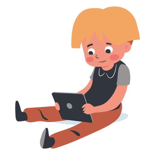 Blonde kid tablet character Transparent PNG