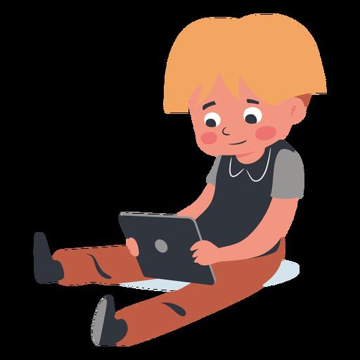 Carácter de tableta de niño rubio