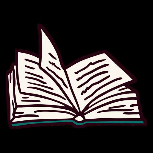 Ilustración de libro abierto azul