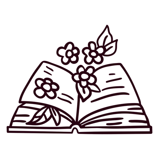 Book with flowers stroke