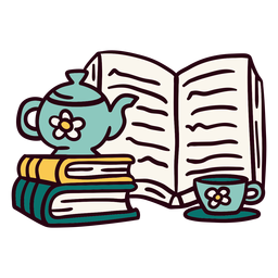 Books teapot cup illustration