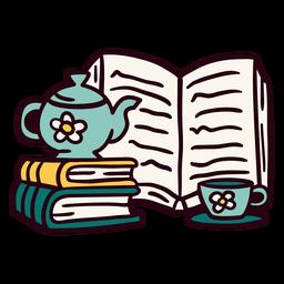 Ilustração de xícara de bule de livros
