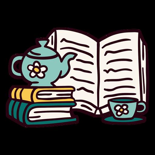 Books teapot cup illustration