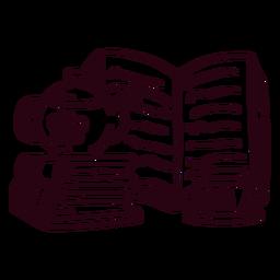 Libros tetera taza trazo