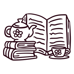 Libros trazo de taza de tetera
