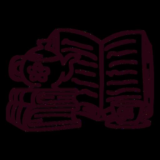 Books teapot cup stroke