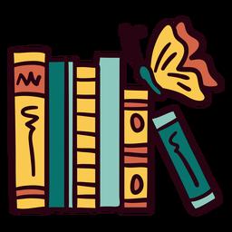 Bookshelf butterfly illustration