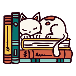 Bookshelf sleeping cat illustration