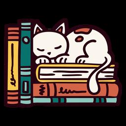 Bücherregal schlafende Katze Illustration