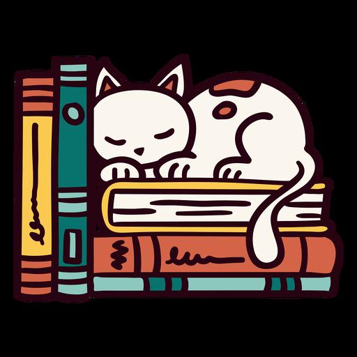 Bookshelf sleeping cat illustration
